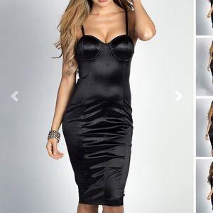 Alyssa  black satin Bustier cocktail dress